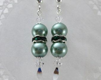 Teal Green Pearl Dangle Earrings Emerald Green Rhinestone Rondels Swarovski Clear Crystals Silver Spear Pins Mint Green Spruce