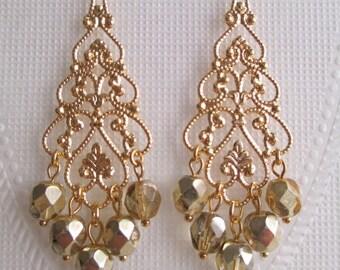 Pale Gold Bridesmaids Earrings Dangle Chandelier Czech Fire Polished Beads Halfside Metallic Coating Wedding Jewelry Bridal Jewelry