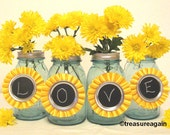 Yellow Chalkboard Tags Ball Mason Jar Centerpiece Decorations for Weddings, Birthday Parties, or Events, Upcycled Rossette Ribbons