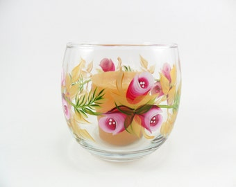 Candle Holder Pink Roses Gold Hand Painted Flowers Glass Tea Light Votive Holder