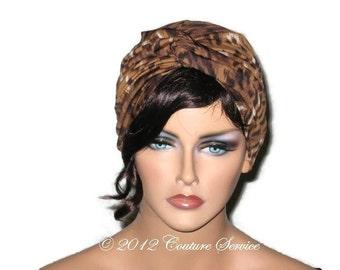 Brown Turban, Women's Handmade Fashion, Animal Print Twist