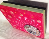 INDIA - Original mix media painting with large paper coil on recycled cigar boxes