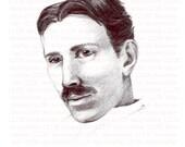 Nikola Tesla Print Framed Ink Drawing- Free Shipping