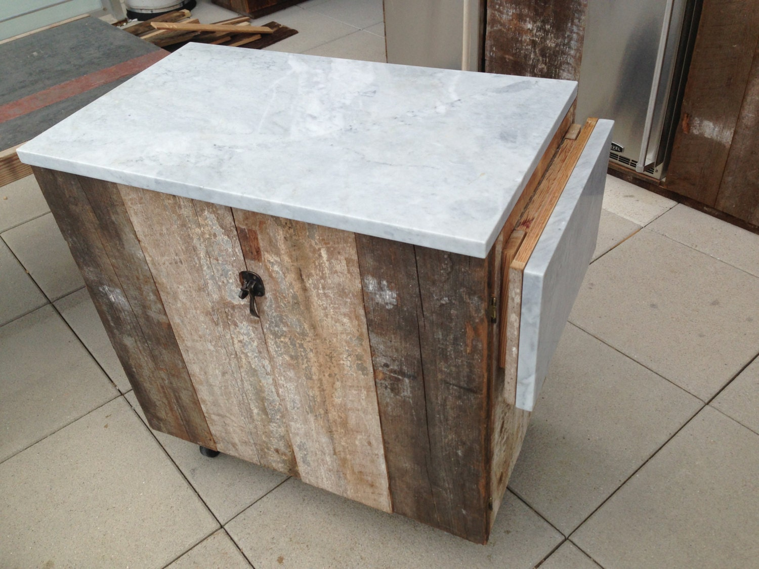 Reclaimed Wood Rolling Bar Kitchen Island With Marble Top