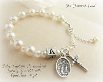 Beautiful Personalized Catholic Pearl & Crystal Baby Baptism Bracelet with Guardian Angel