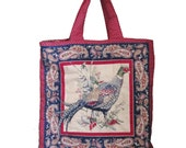 Vintage 80s PHEASANT Quilted Tote Bag 10 Dollar Sale