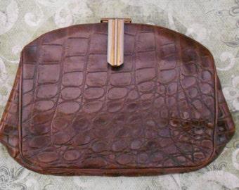1940's Brown Alligator Clutch Purse
