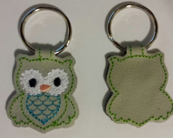 Leather Owl Keychain - FREE Shipping
