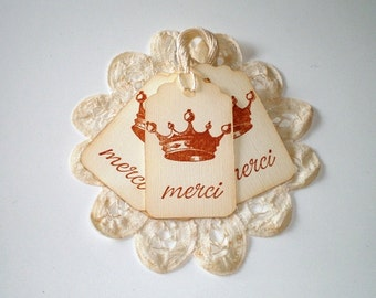 Ivory Crown Merci Gift Tags, Thank you Gift Tags, French Theme Tags