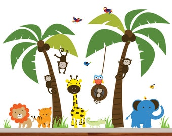 Monkey Tree Wall, Decal Safari Tree Decal, Palm Tree Decal, Monkey Decal