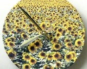 Wall clock.  Field of sunflowers.  Kitchen or sunroom clock.
