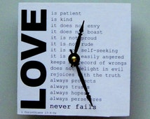 Small inspirational wall clock. Biblical quote on love.  Square wood clock.