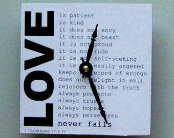 Wall clock.  Small wall clock. Inspirational wall clock. Bible clock. Clock with Biblical quote. Clock on love.