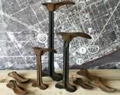 Iron shoe stands set cast cobbler repair vintage antique industrial chic collection