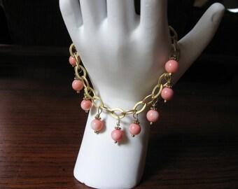 Brass and Coral Bracelet
