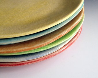 Side plates, free formed, organic shaped, slab made side plates in six colors, set of six side plates by Leslie Freeman