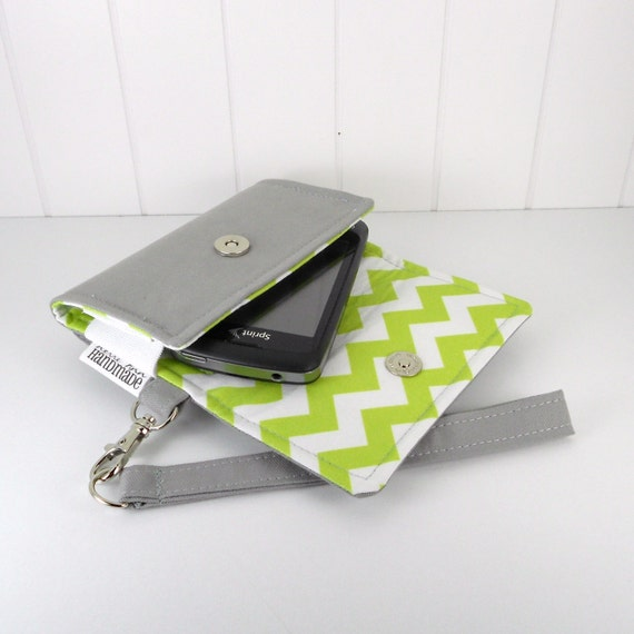 The Errand Runner - Cell Phone Wallet - Wristlet - for iPhone/Android - Gray/Chevron in Chartreuse
