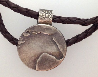 Rustic Mini Fine Silver Horse Pendant with Braided Leather Necklace