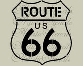 STENCIL US Route 66 Road Sign