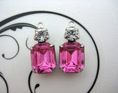 10x8 Swarovski Rose Pink Octagon and Crystal Clear Round Rhinestone in Silver Double  1 Pair