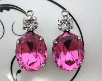 12x10 Oval Swarovski Rose Pink and Crystal Round Rhinestone in Silver 1 Ring Setting 1 Pair