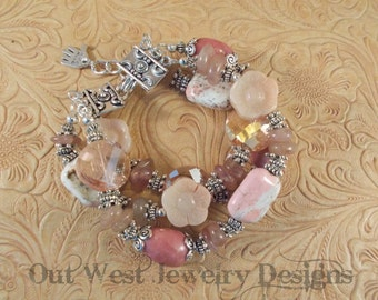 Cowgirl Bracelet - Chunky Dusty Rose Rhodonite, Strawberry Quartz, Pink Jasper, Pink Turquoise and Crystal