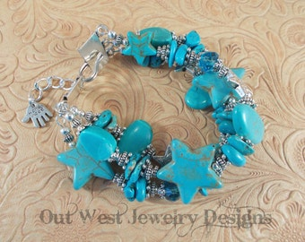 Cowgirl Bracelet - Chunky Aqua Howlite Turquoise Nuggets and Stars with Crystal