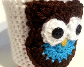 Brown Owl Cup Sleeve, Crochet Cup Cozy, Reusable Cup Sleeve, Brown and Blue Owl Java Jacket, Bottle Cozy and Can Sleeve