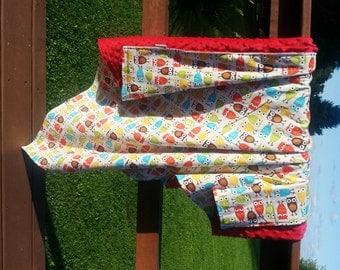 Owl Baby Blanket- Minky Baby Blanket- Owl Baby Bedding- Owl Minky Blanket-Owl Theme