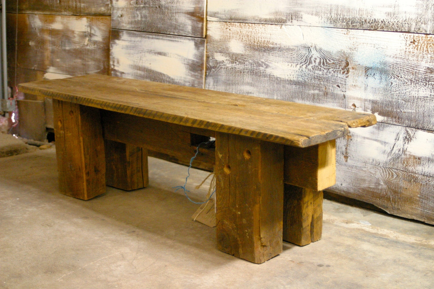 antique barn beam bench made with old fashioned tools With benches made from old barn wood