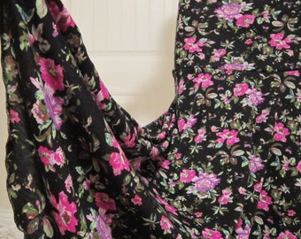 """Ladies' Modest Purple & Black Floral Stretch Knit Polyester Spandex Jersey Maxi skirt for Missionary, Travel, or Leisure Wear, S/M, 36""""long"""