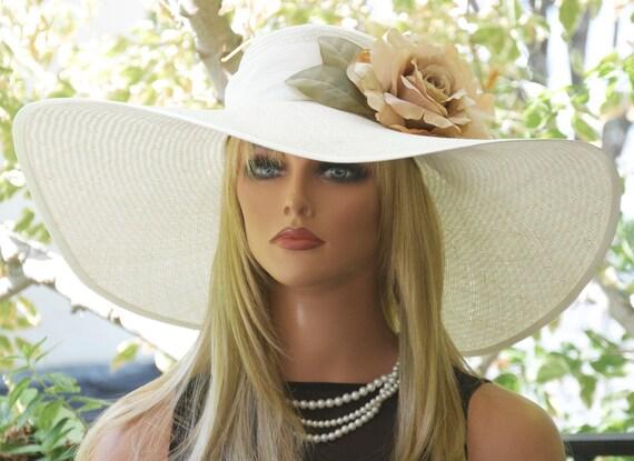 Wide brim hat Wedding Hat Ascot hat, Women's Cream Straw Hat Formal Straw Hat  Derby Hat, Hat with Flower, Summer Hat, Garden Party