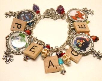 Grateful Dead Bracelet, Jerry Garcia Deadhead Turquoise Peace Hippie Jewelry, Dancing Bears, Grateful Dead Jewelry, Hippie Bracelet OOAK #1
