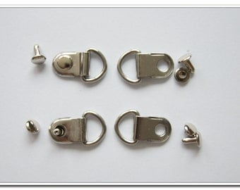 20 sets  2cm x 1.4cm Purse Chain loop Chain attachment pull ring Pull loops silver with rivets