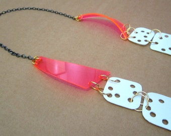 Neon Pink White Recycled Handmade Plastic Jewelry Long Necklace
