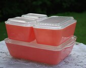Perfectly Imperfect, Perfectly Gorgeous Four Dish Set of Pink Pyrex Fridge Dishes, Hard to find, Lovely.