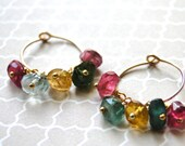 ONE DAY SALE 14k Gold Filled Jewelry Drop Earrings Stunning Tourmaline Dangle Earrings Accessories Autumn Collection, Gemstone Earrings