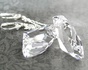 Crystal Clear Earrings Sterling Silver Earrings Swarovski Crystal Earrings Ice Clear Dangle Earrings Long Earrings