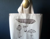 Screen Printed Recycled Cotton Tote Bag - Eco Friendly Grocery Tote - Canvas Tote Bag - Large Tote - Mushroom Book Bag - Botanical
