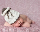 Cream Barley Reversible Double Knit Baby Hat Newborn Photography