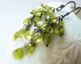 Peridot earrings. Dangle earrings. August Birthstone earrings. Wire wrapped. Drop earrings. Peridot cluster earrings. August gift