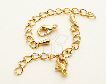 SL-016-GD / 20 set - Extender Chains with a Lobster Clasp for Chain Necklace, 16K Gold Plated / 50mm