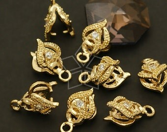 PS-036-GD / 4 Pcs - Blade Pinch Bail with CZ Stone Detail, 16K Gold Plated over Brass / 6mm x 10mm