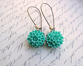 Turquoise Vintage Style Dahlia Long earrings