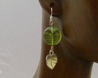 Green shades of vintage beads with sterling silver an 18k gold bi-metal earrings
