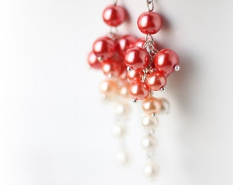 Bright Neon Orange Ombre Earrings, Wedding Bridesmaid Jewelry Pearl Cluster Long Earrings Gradient Color from Orange, Cream to White