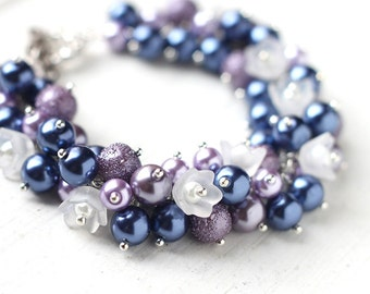 Blue and Purple Pearl Cluster Bracelet with White Flowers for Spring Weddings, Bridesmaid Jewelry - Morning Glory
