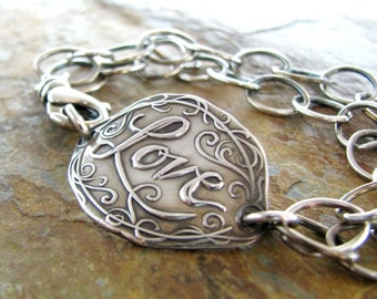 Everlasting Love, Personalized Fine and Sterling Silver Bracelet with Antiqued Finish, Artisan Original by SilverWishes