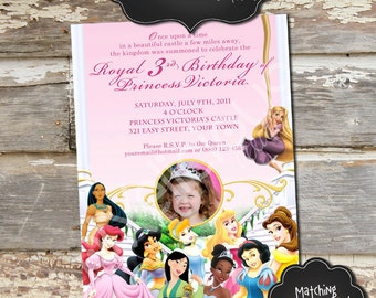 DISNEY PRINCESS 2 Custom Photo Birthday Invitation - Digital File, You Print - 5x7