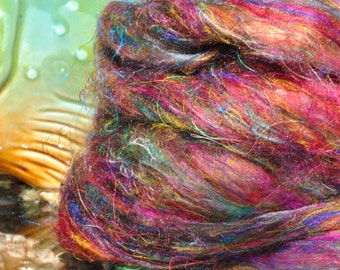 Lovely Pulled Sari Silk Carded Roving Silk Waste Blending Fibers New Jewel Colorway!  Great Price